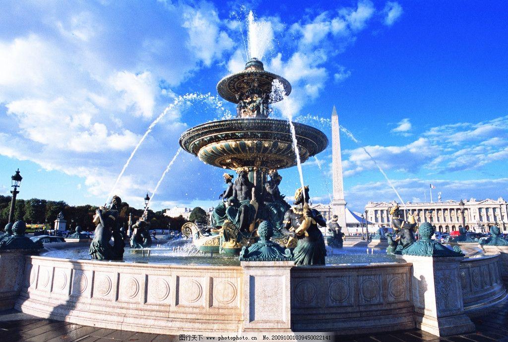 欧式喷泉 蓝天广场 雕塑喷泉 欧洲建筑 建筑摄影 建筑园林