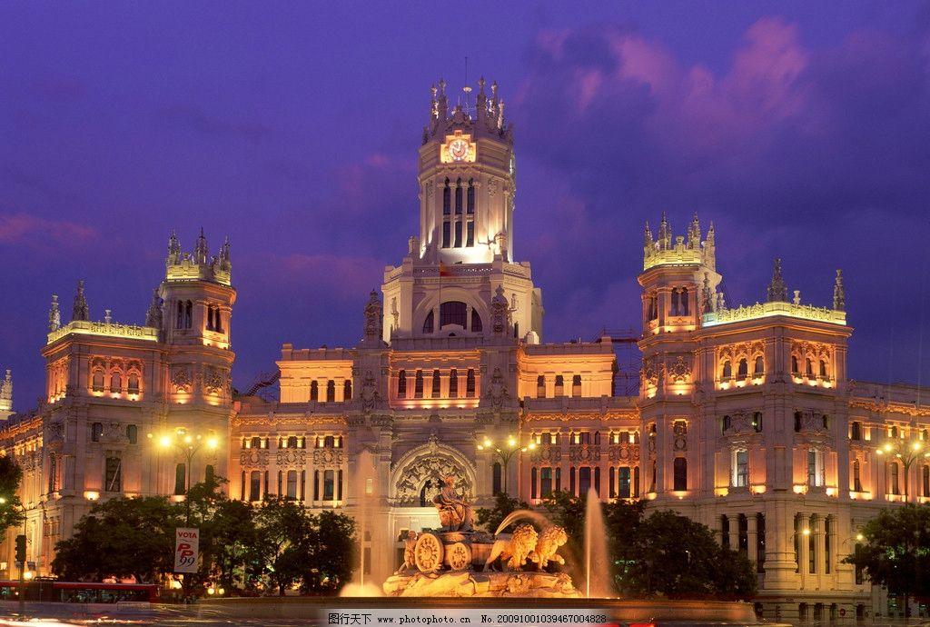 夜景欧式建筑图片
