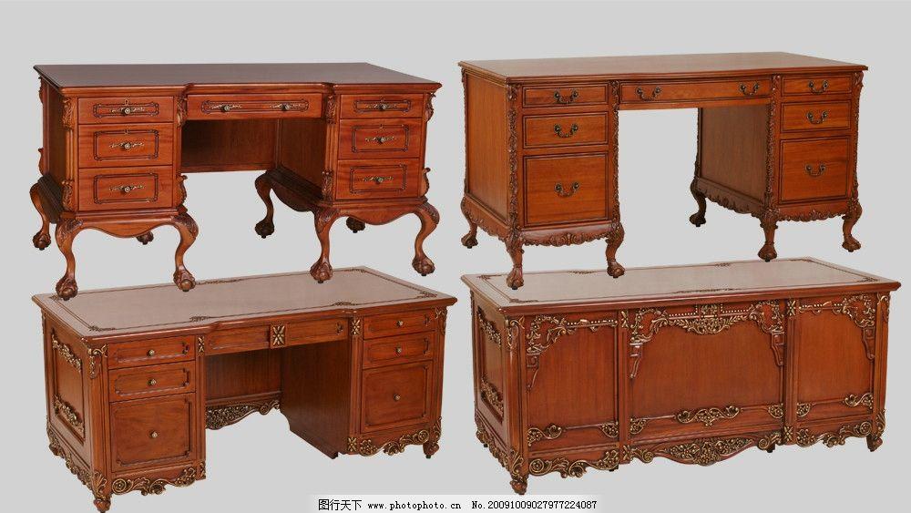 欧式红木雕花办公桌图片