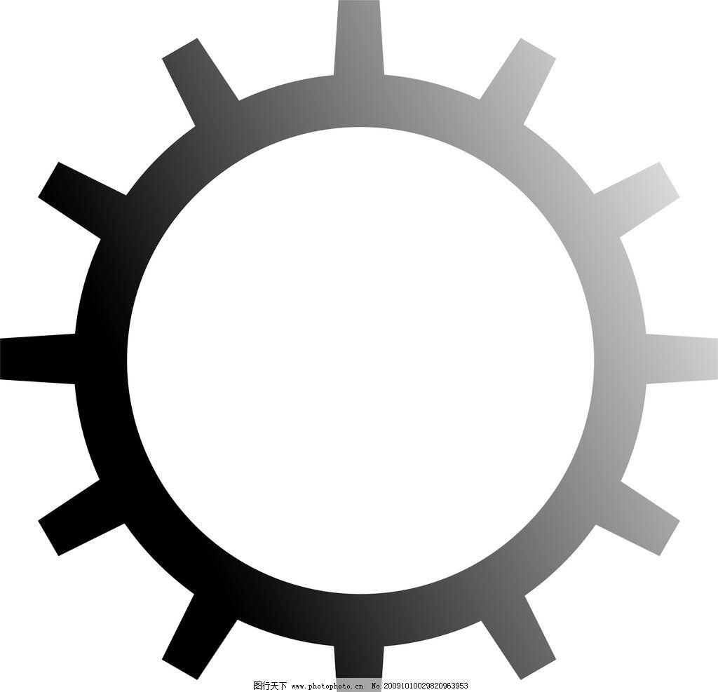 齿轮图片,小图标 黑白齿轮 标志 矢量-图行天下图库