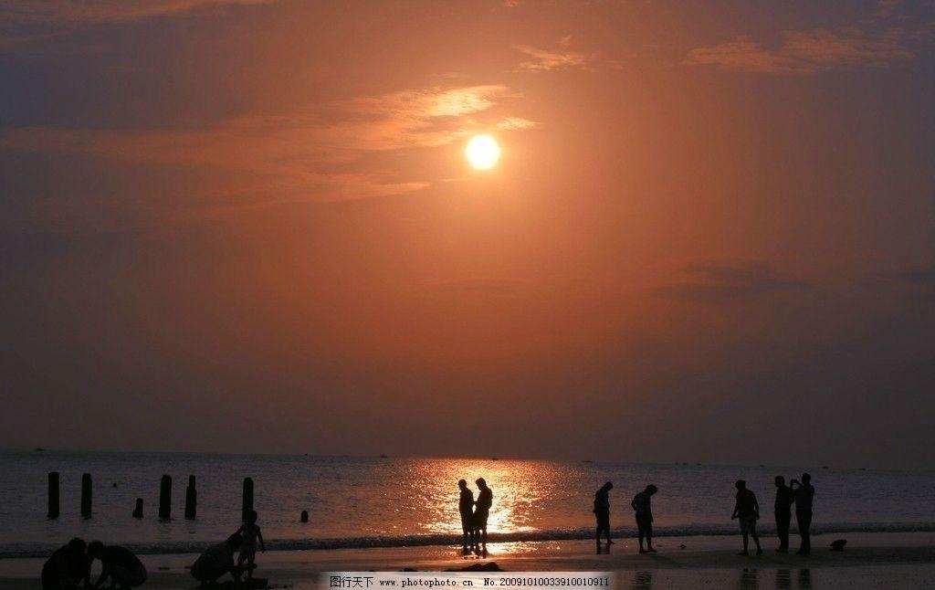 日落 落日 黄昏 海滩 沙滩 游戏 海边 三亚湾 三亚 三亚之旅 国内旅游