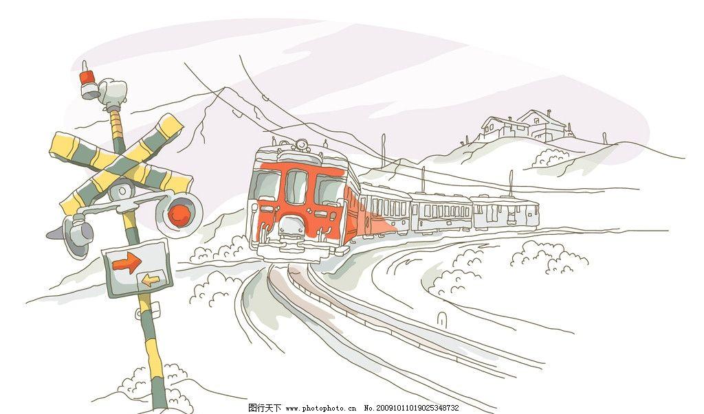 大头火车 电脑手绘 雪景 山川 路标 各国风光 绘画书法 文化艺术 设计