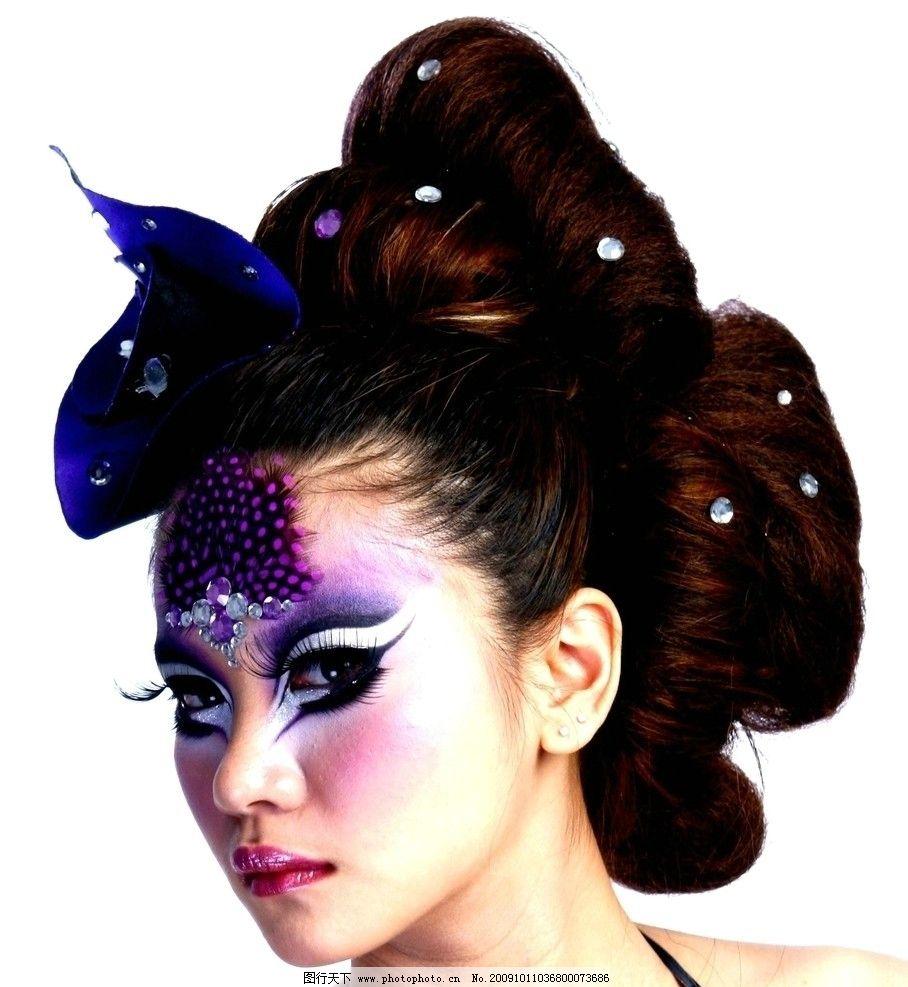 发型艺术 美发 盘发 化妆 彩妆 彩绘 眼妆 妆容 前卫 设计 唯美 美女图片