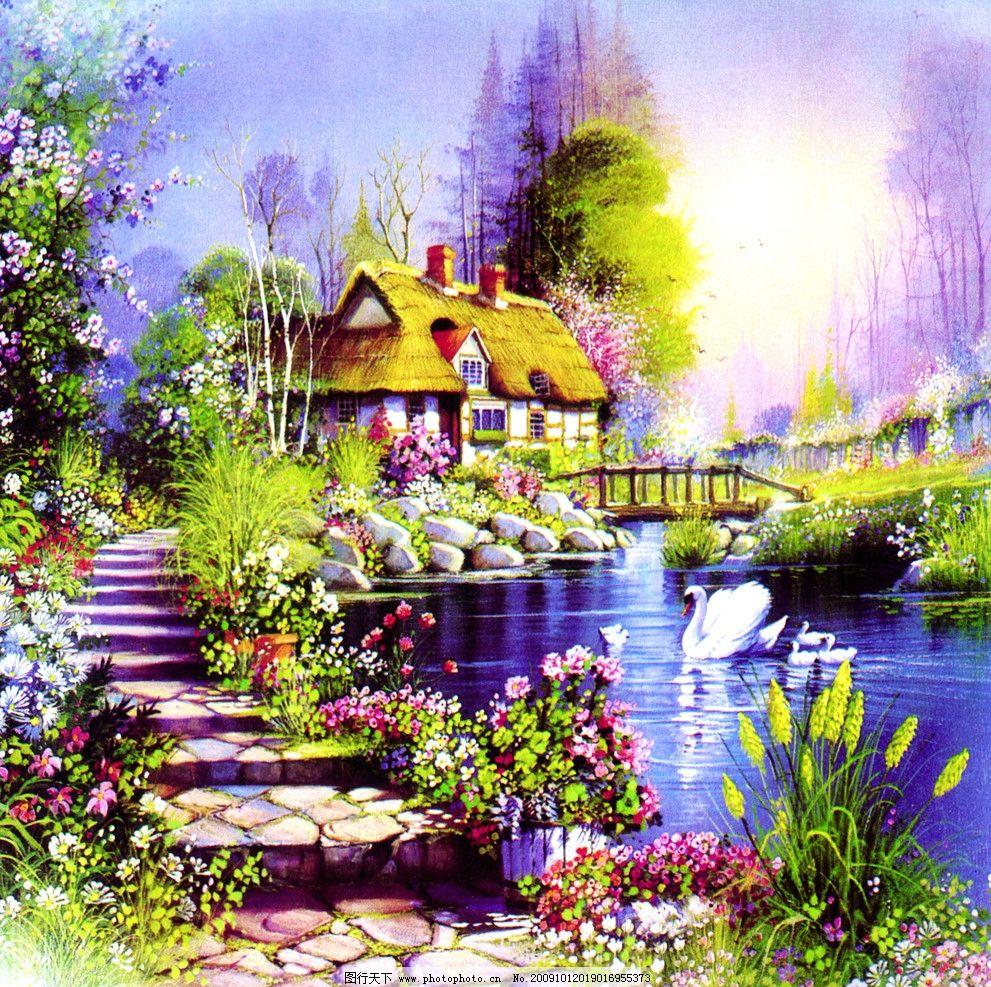 油画风景 梦幻风景 小屋 油画 风景 天鹅湖 梦中小屋 绘画书法 文化