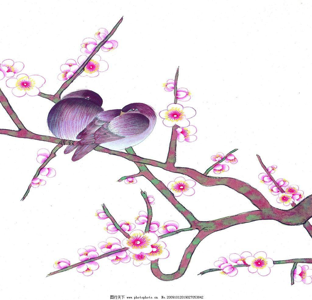 桃花 桃花图片 春天 鸟 树枝 酒店挂画 绘画书法 文化艺术 设计 149
