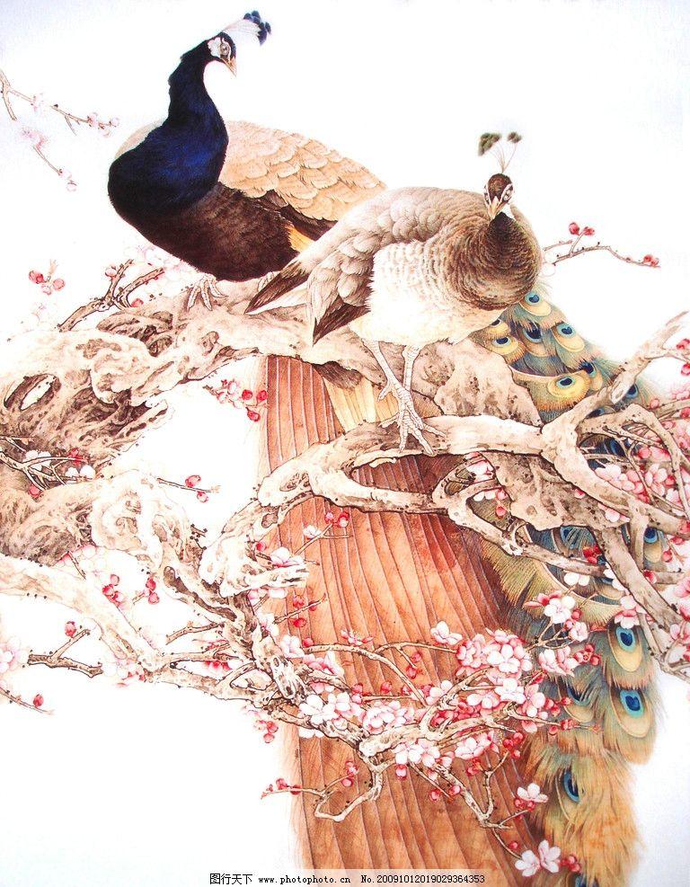 吉祥图 花鸟 花草 凤凰 梅花 动物工笔画 绘画书法 文化艺术 设计 72