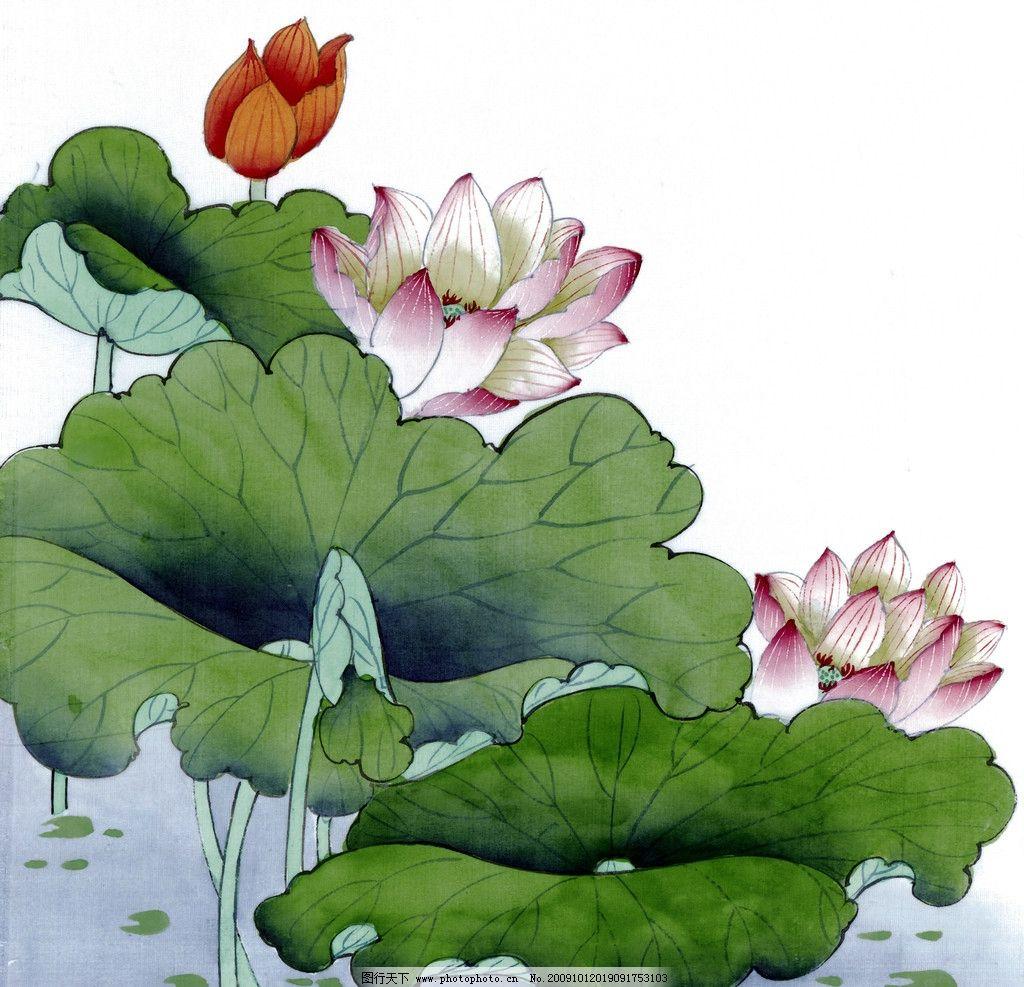 国画 荷花 荷叶 小鸟 绘画书法 文化艺术 设计 400dpi jpg
