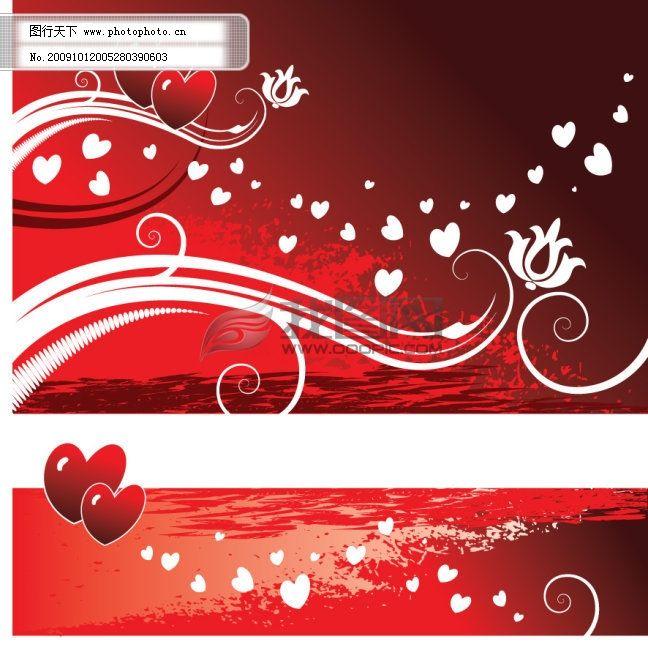 红色心形图案与花纹