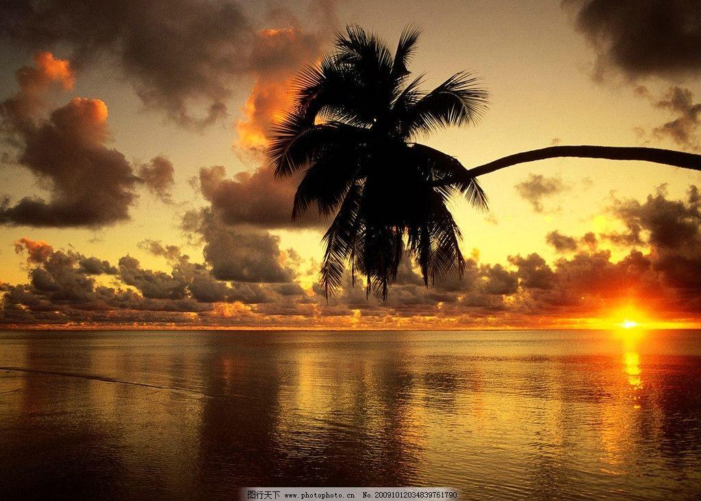 海边日落 海边 日出 日落 黄昏 太阳 椰树 沙滩 写意 自然风景 自然