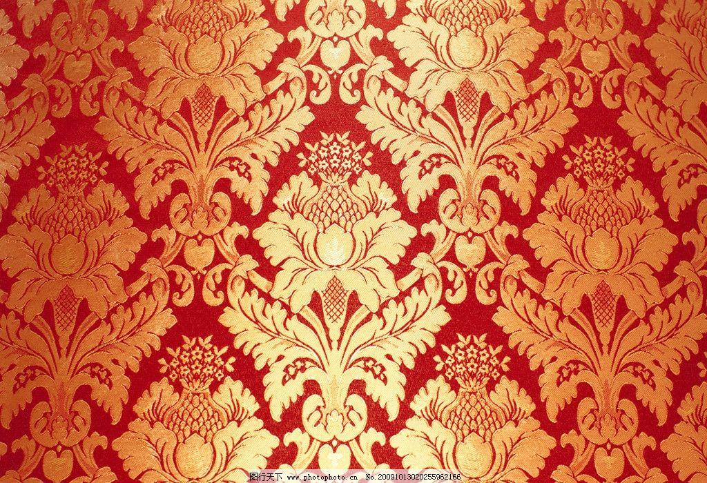 金色欧式花布 花纹 材质 背景 面料 布料 布纹 高清图片