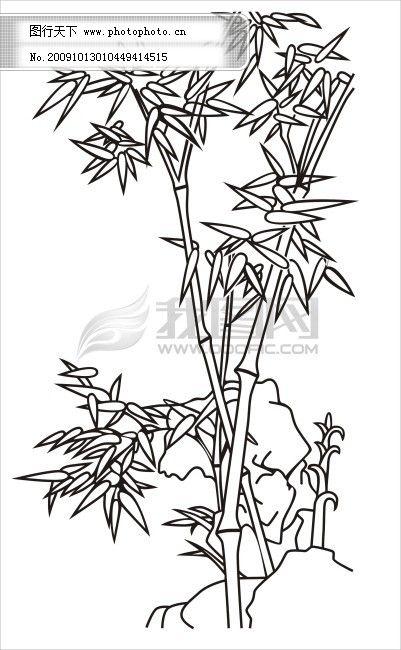 国画 国画竹子 雕刻 雕刻玻璃 雕刻花纹图片 单门图 家居装饰素材