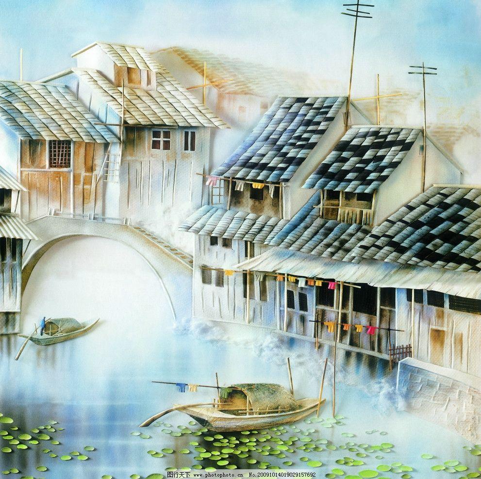油画水乡 小桥流水人家 水乡油画 小船 水墨画 绘画书法 文化艺术