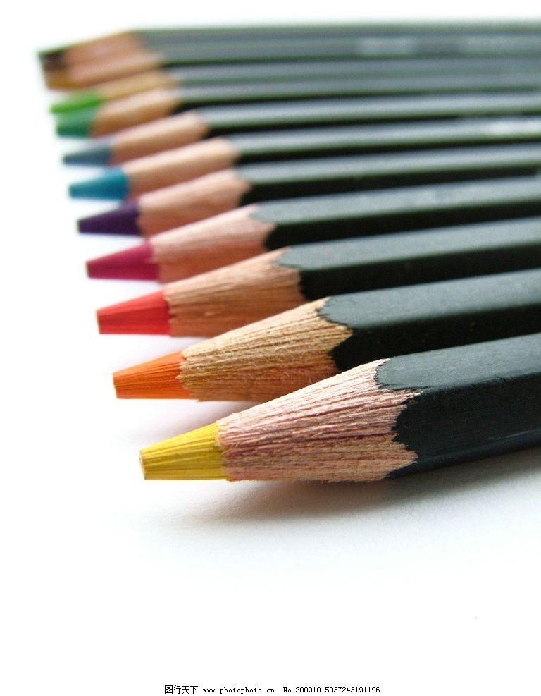 铅笔高清图片,彩色铅笔 写画 笔头 文具 学生用品-图