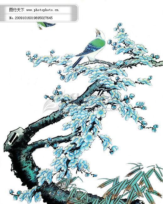 中国工笔画免费下载 中国工笔画,鸟,桃花,桃花树 图片素材 文化艺术