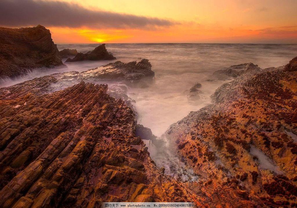 美丽风景 海 礁石 海水 日出 霞光 海岸 海边风景 自然景观 自然风景