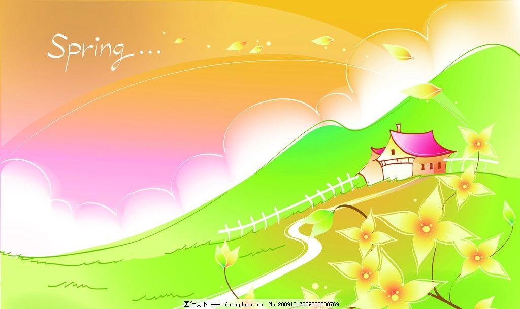 润物无声 房子 风景 绿色 移门 花飘 背景底纹 底纹边框