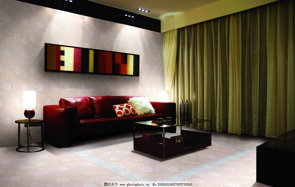时尚客厅 红色沙发 高档地砖效果图