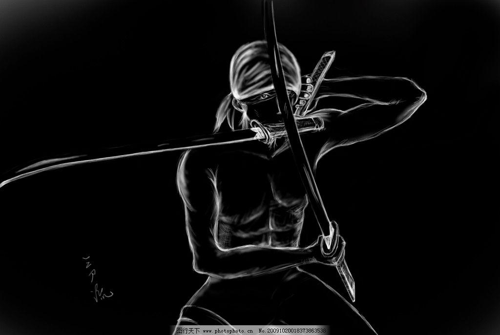 手绘动漫人物铅笔画 海贼王路飞 铅笔画图片 小
