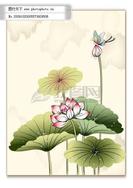 中国画元素,国画,蝴蝶,荷叶,墨画,彩画,素材,中国元素,荷花,荷花苞