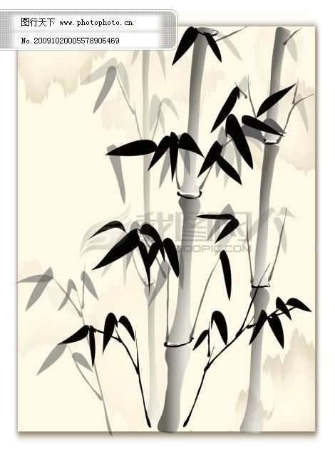 中国画元素,国画,墨画,竹画,素材,中国元素,书法,竹子,竹叶 矢量图