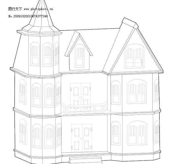 线描欧式房子图片