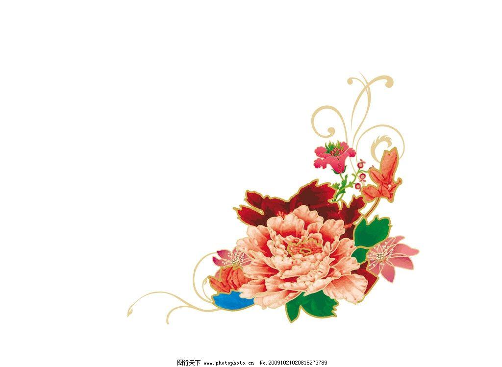 牡丹花 底纹 花边 花朵