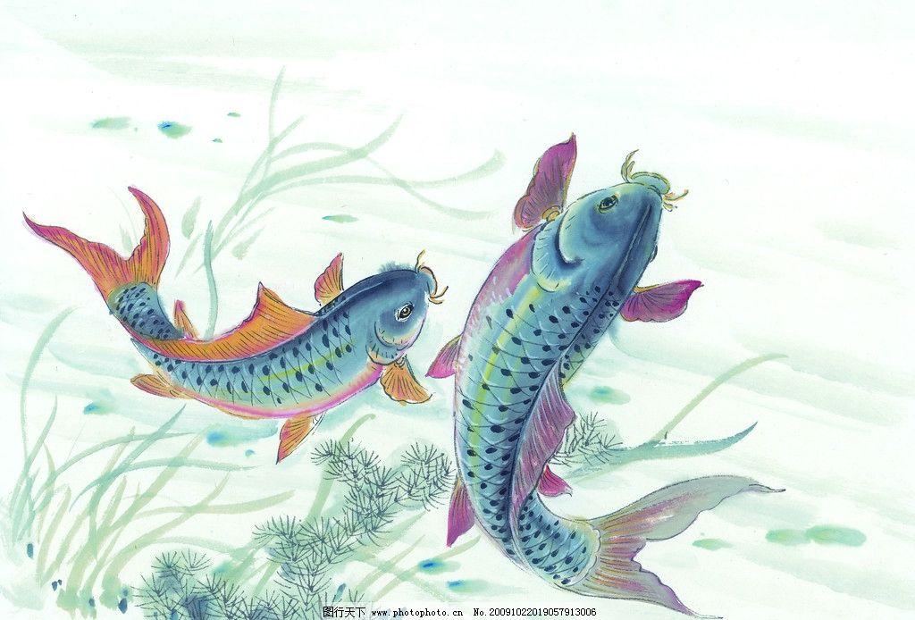 手绘鲤鱼 手绘图 鲤鱼 国画 绘画书法 文化艺术 设计 300dpi jpg