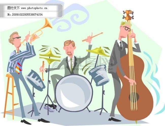 鼓 乐器 琴 人物 激情音乐会 乐器 人物 号 琴 鼓 矢量图 其他矢量图