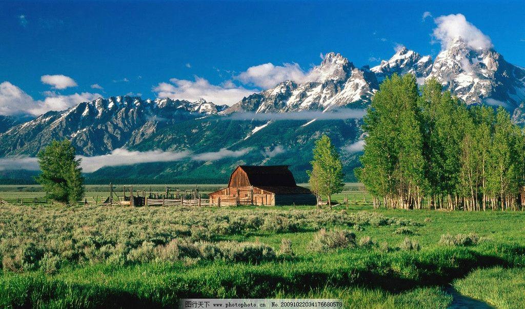 高原风景 房屋 树林 雪山 蓝天 草地 小屋 自然风景 旅游摄影