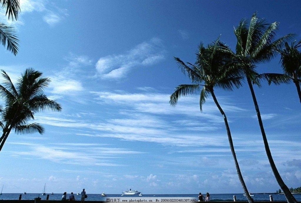 大海风光 情侣 人物 椰子树 蓝天 白云 草地 大海风景 自然风景
