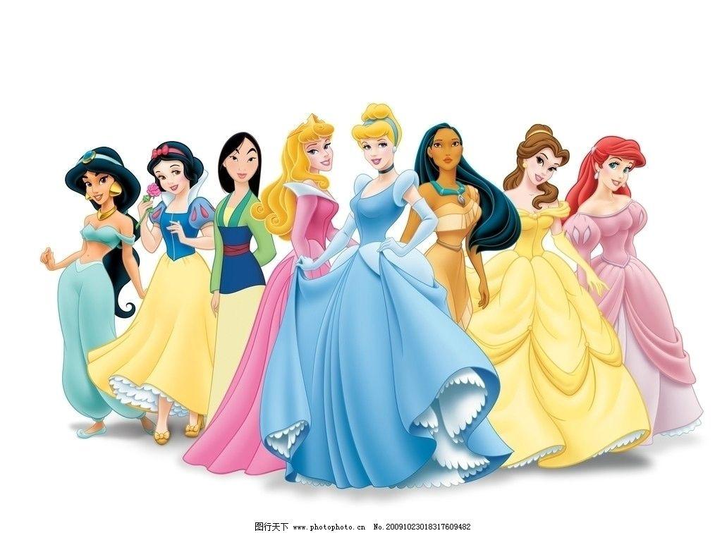 卡通童话里的公主 卡通 童话 美女 神话 花木兰 白雪公主 动漫人物