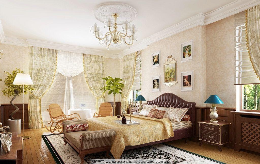 简约欧式卧室效果图图片