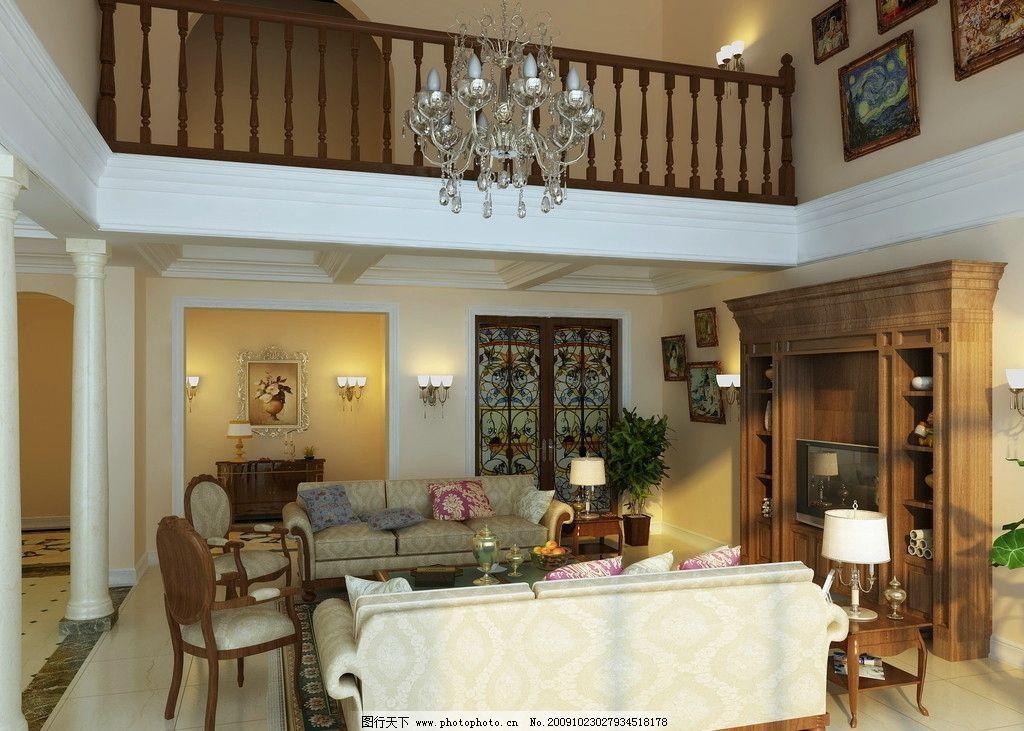 欧式别墅空间效果图图片