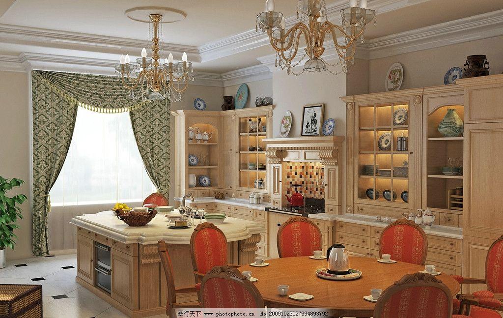 古典欧式厨房效果图图片