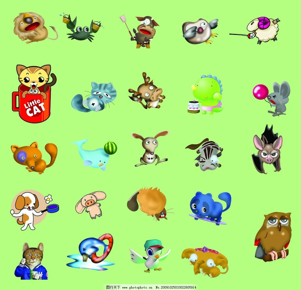 卡通动物大全图片