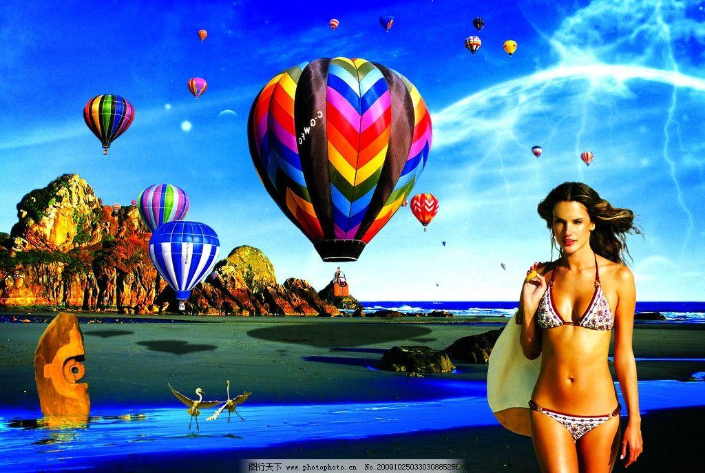 沙滩美女与风景图片