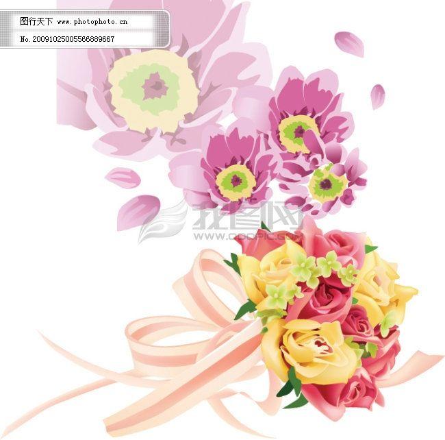 花 花朵 花朵花瓣 丝带 花朵花瓣 花 花朵 丝带 矢量图 其他矢量图