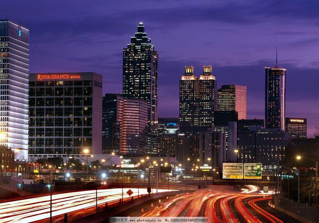城市夜景 高樓 大廈 燈火 道路 國際大都市 國外旅游 攝影