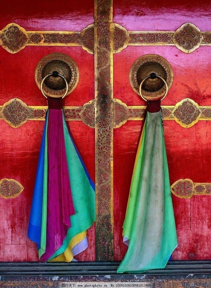 古门艺术 丝带 丝绸 门环 宫殿 城门 祥云 柱子 花纹 祥和