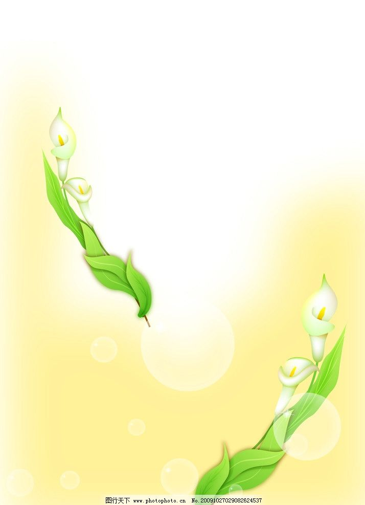 百合花叶子平面设计图矢量