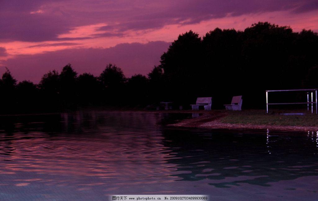 夕阳剪影图片_自然风景_自然景观_图行天下图库