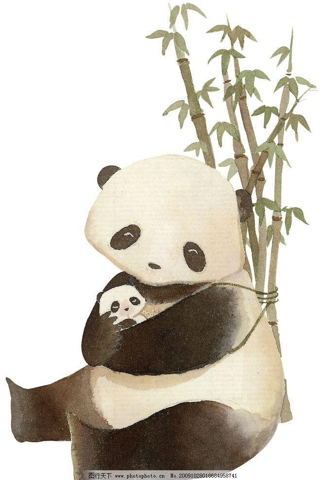 大熊猫 国家一级保护野生动物 哺乳动物 儿童画 动漫动画
