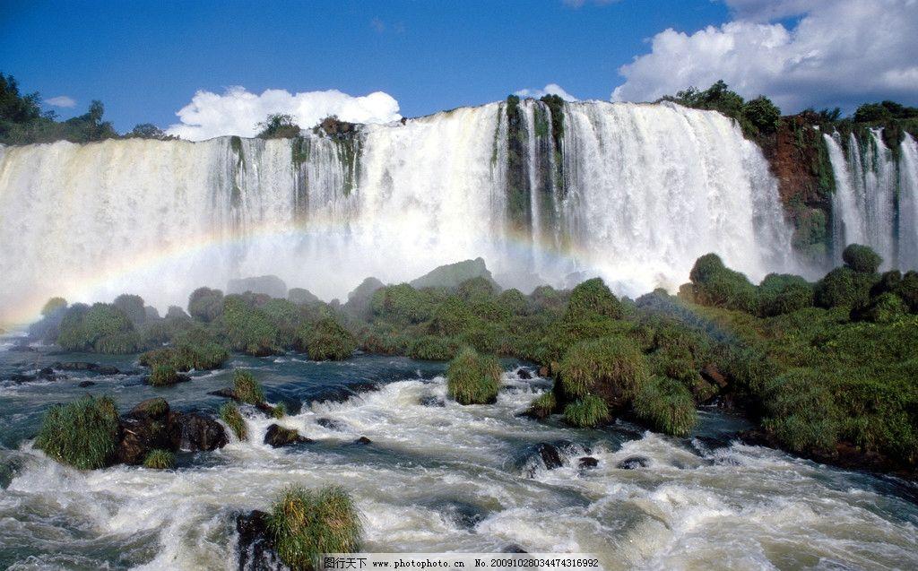 山水图 瀑布 石头 流水 杂草地 山水风景 自然景观 摄影 300dpi jpg