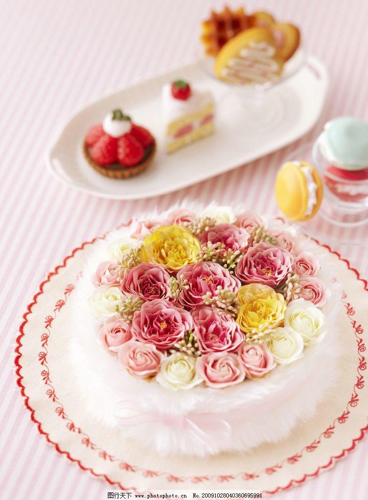 蛋糕 爱心 爱 糕点 花 玫瑰 礼物 生日 节日 爱的礼物 西餐美食 餐饮