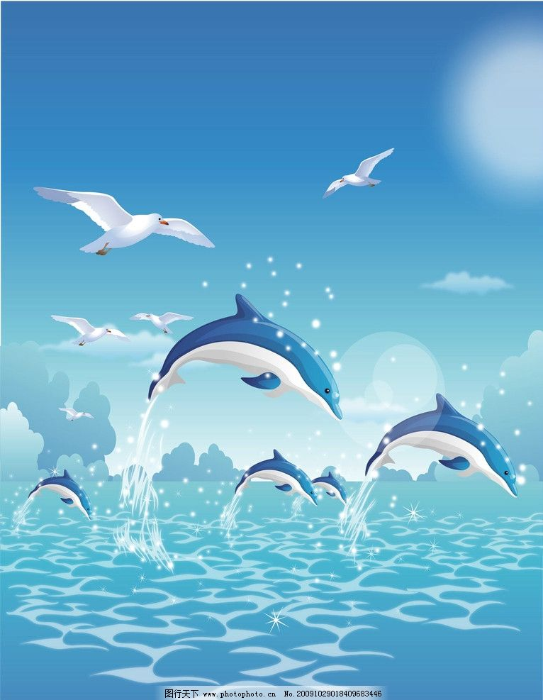 动漫动画 动漫风景 卡通动物 卡通画 卡通风景 白云 蓝色背景 花 美丽