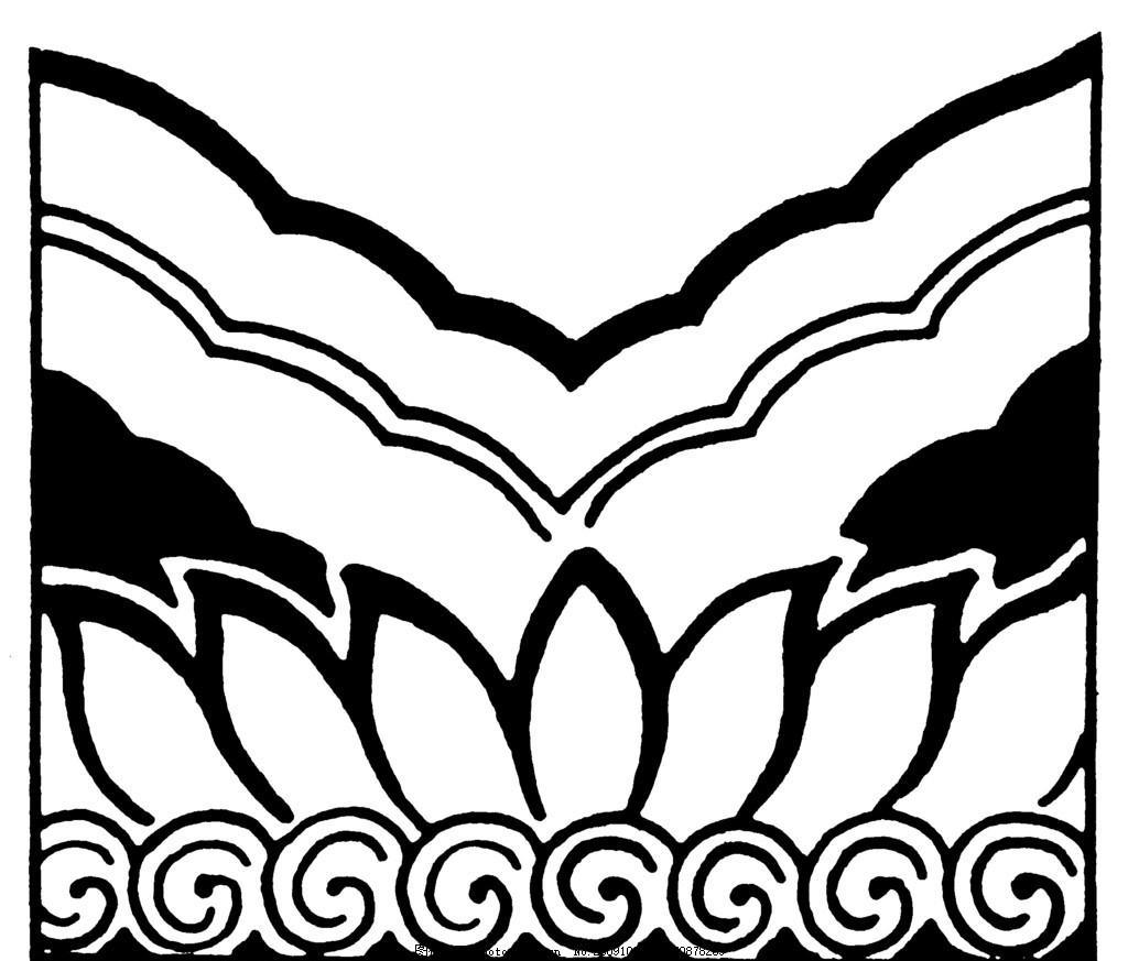 元朝 元代 明朝 明代 图案 花边 底纹 古典 古代 黑白 花边花纹 底纹