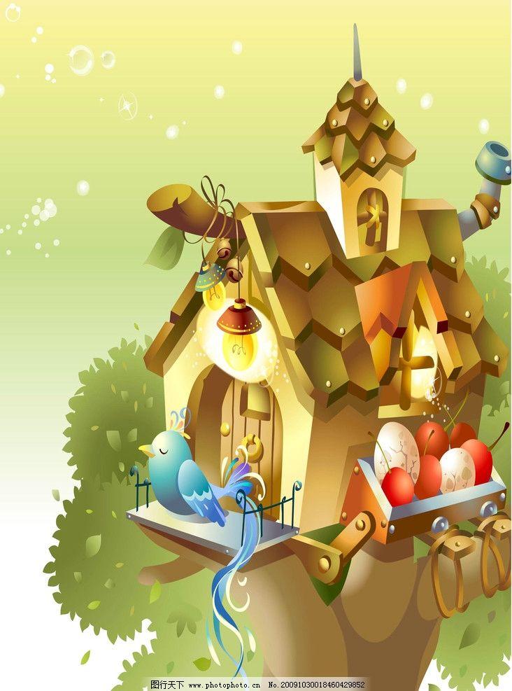 动漫风景 卡通动物 卡通画 卡爱卡通 草地 可爱动物 可爱鹦鹉 鸟 房子