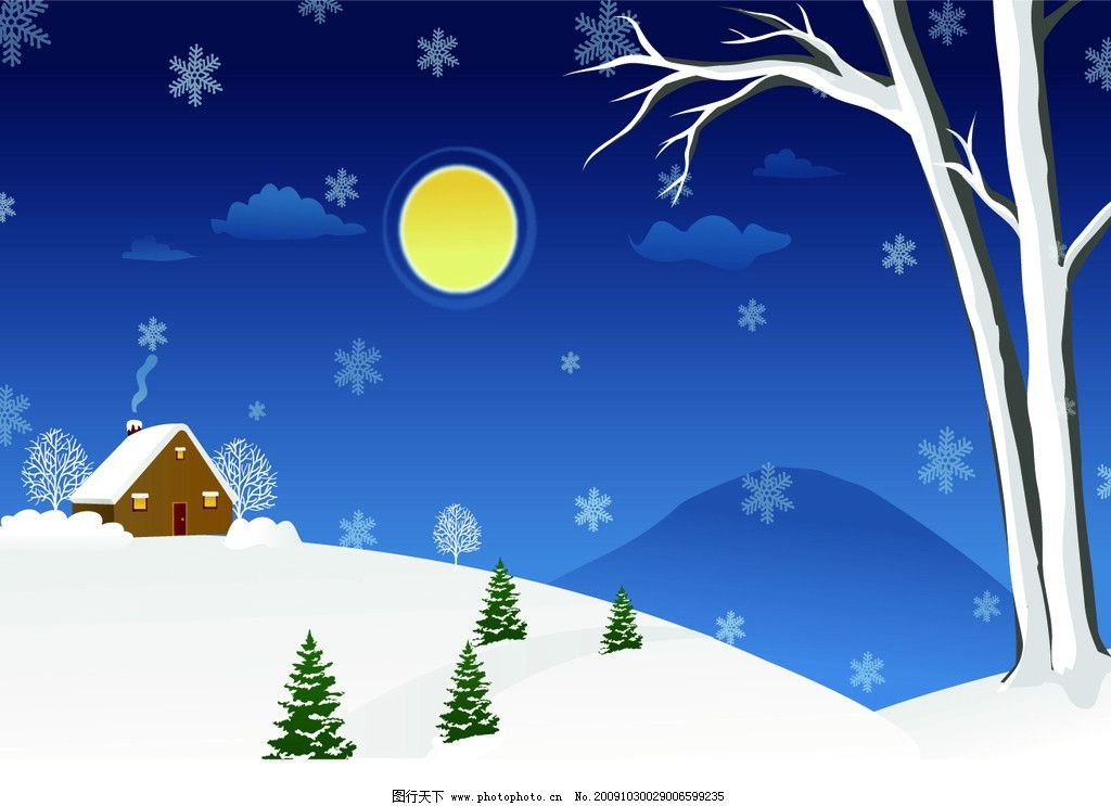 雪夜 冬天 雪景 移门 月亮 房子 雪花 山 移门系列 其他设计