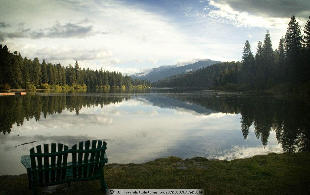 湖边休闲图片_山水风景