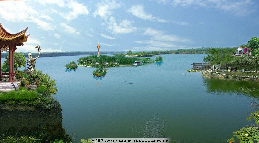 礼泉湖心岛图片